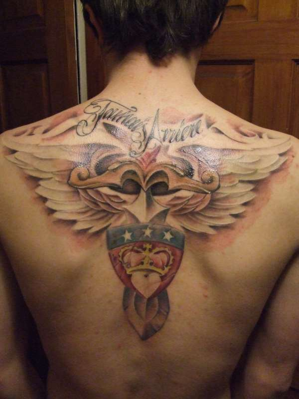 Upper Back Family Crest Tattoo