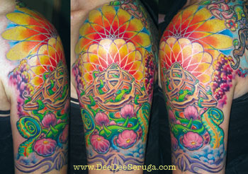 Vines Flowers Fantasy On Half Sleeve