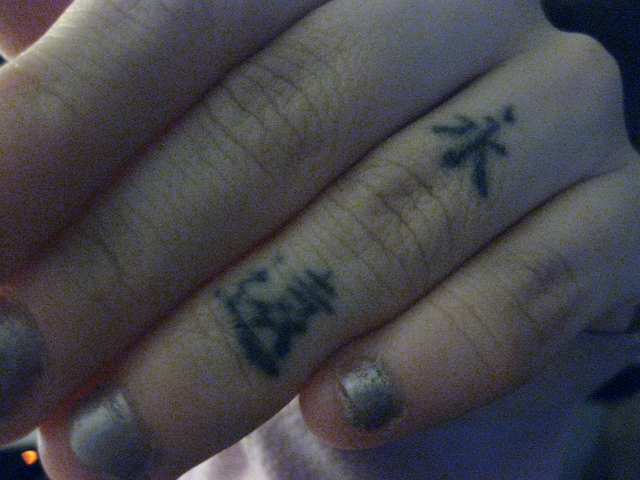 black ink small chinese symbols finger tattoo. Black Bedroom Furniture Sets. Home Design Ideas