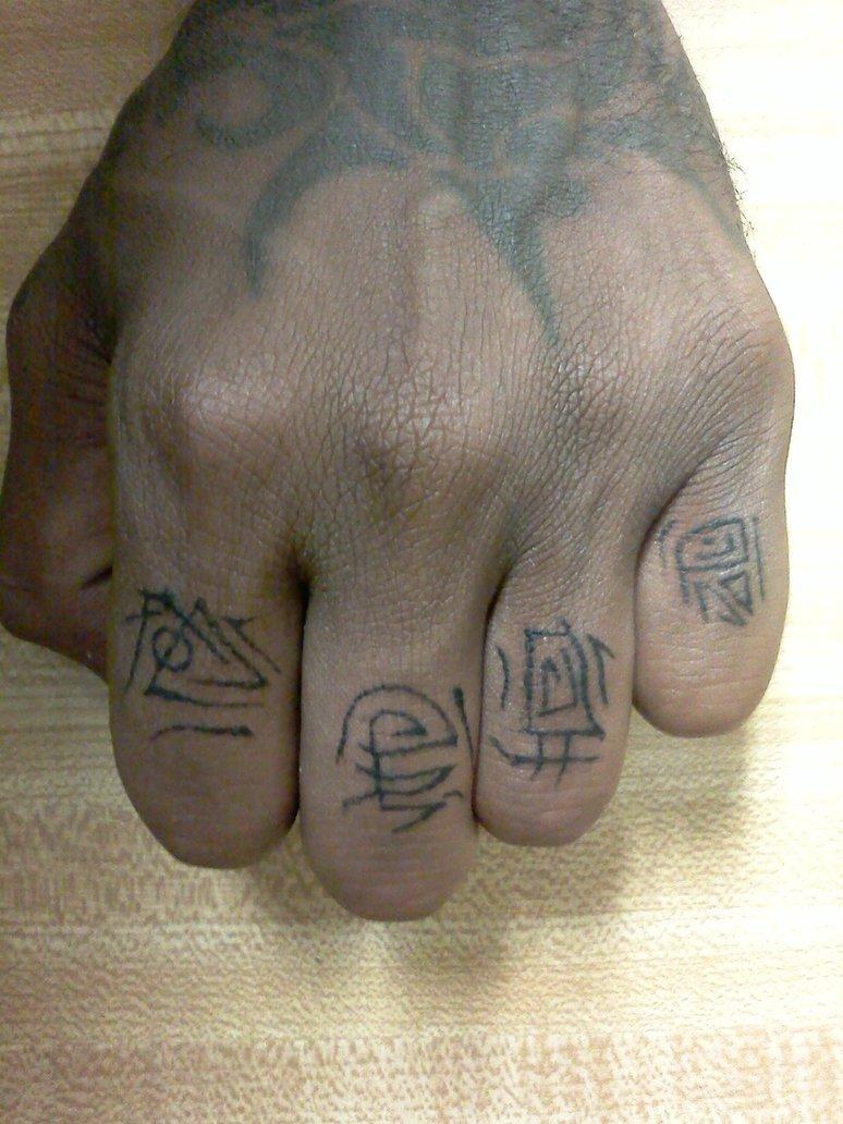 Chinese Symbols Finger Tattoo