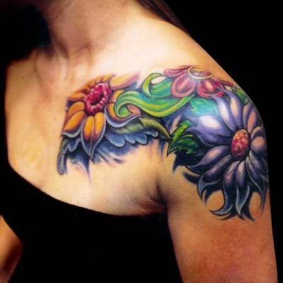Feminine tattoo images designs for Feminine shoulder tattoos