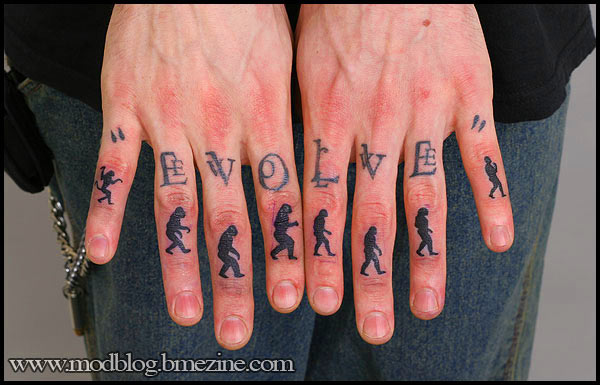 Evolution Of Man Tattoo On Fingers