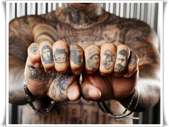 Grey Ink Finger Tattoos For Men