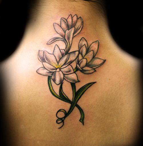 Feminine tattoo images designs for Back tattoo flower designs