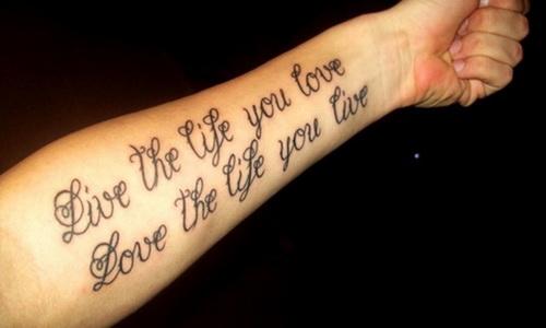 Live the life you love feminine tattoo on left forearm for Feminine forearm tattoos
