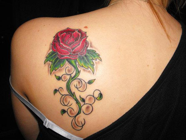 Rose Back Shoulder Tattoodenenasvalencia