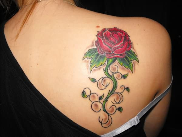 Red Rose Tattoo On Back Shoulder