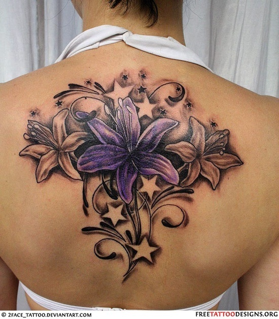 Feminine tattoo images designs for Star and flower tattoos