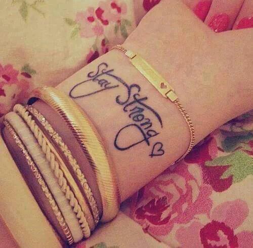 Stay Strong Feminine Tattoo On Wrist For Girls