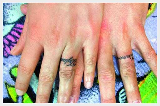Wedding Ring Tattoo On Finger