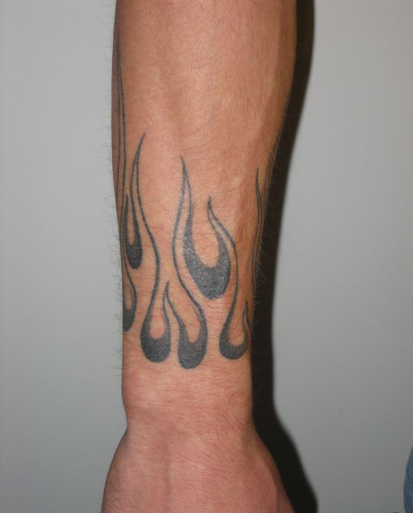 Grey Ink Fire N Flame Tattoo On Both Arms
