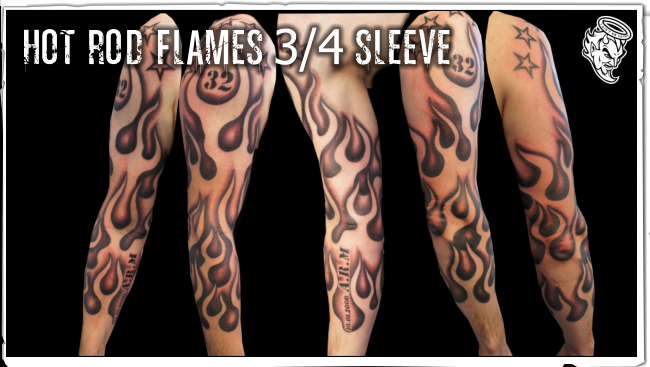 fire and flame tattoo design on sleeve