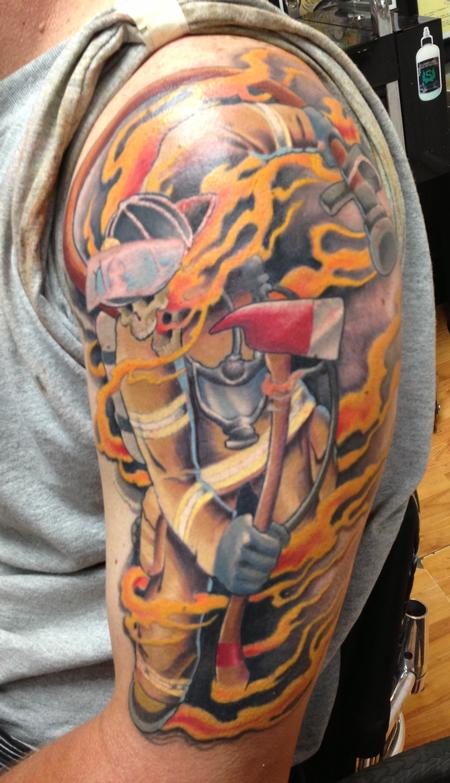 flaming firefighter tattoo on half sleeve. Black Bedroom Furniture Sets. Home Design Ideas