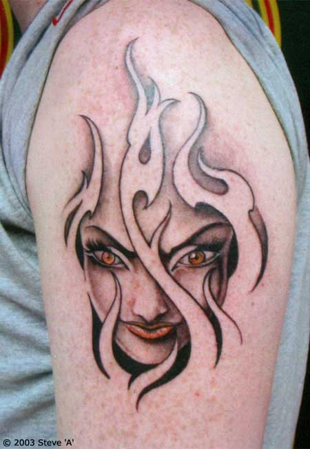 Grey Ink Girl Head In Flames Tattoo On Left Shoulder