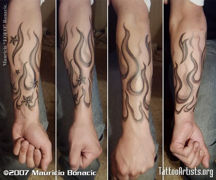 Grey Ink Nautical Star And Fire And Flame Tattoo