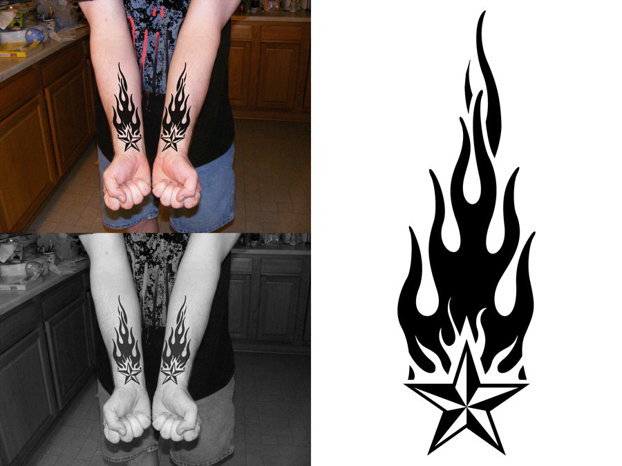 nautical star with fire flame tattoo design