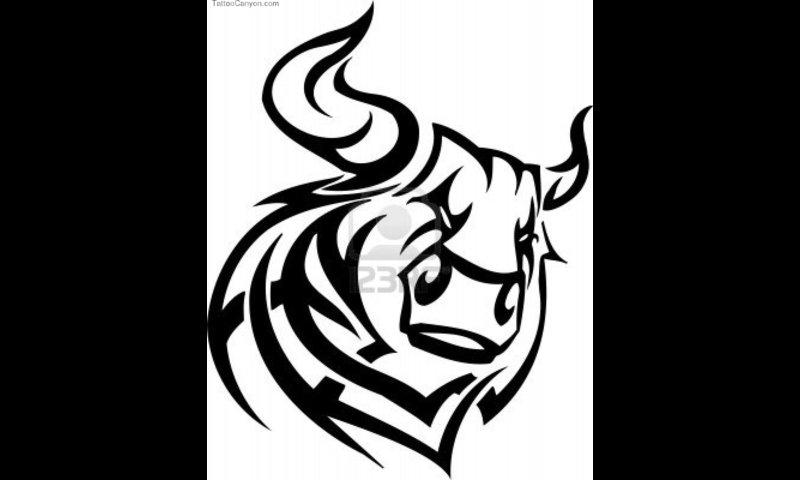 Tribal Flames Bull Head Tattoo Design