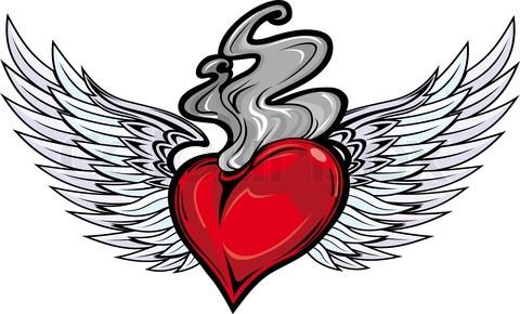 Winged Sacred Heart Fire N Flame Tattoo Design