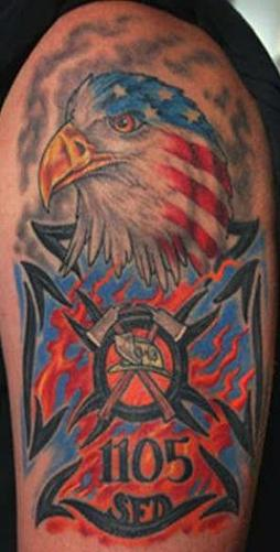 Awesome Color Eagle Head and Firefighter Tattoo On Half Sleeve