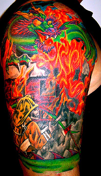 Awesome Colored Firehighter Tattoo On Right Half Sleeve