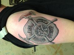 Awesome Grey Ink Firefighter Tattoo On Bicep