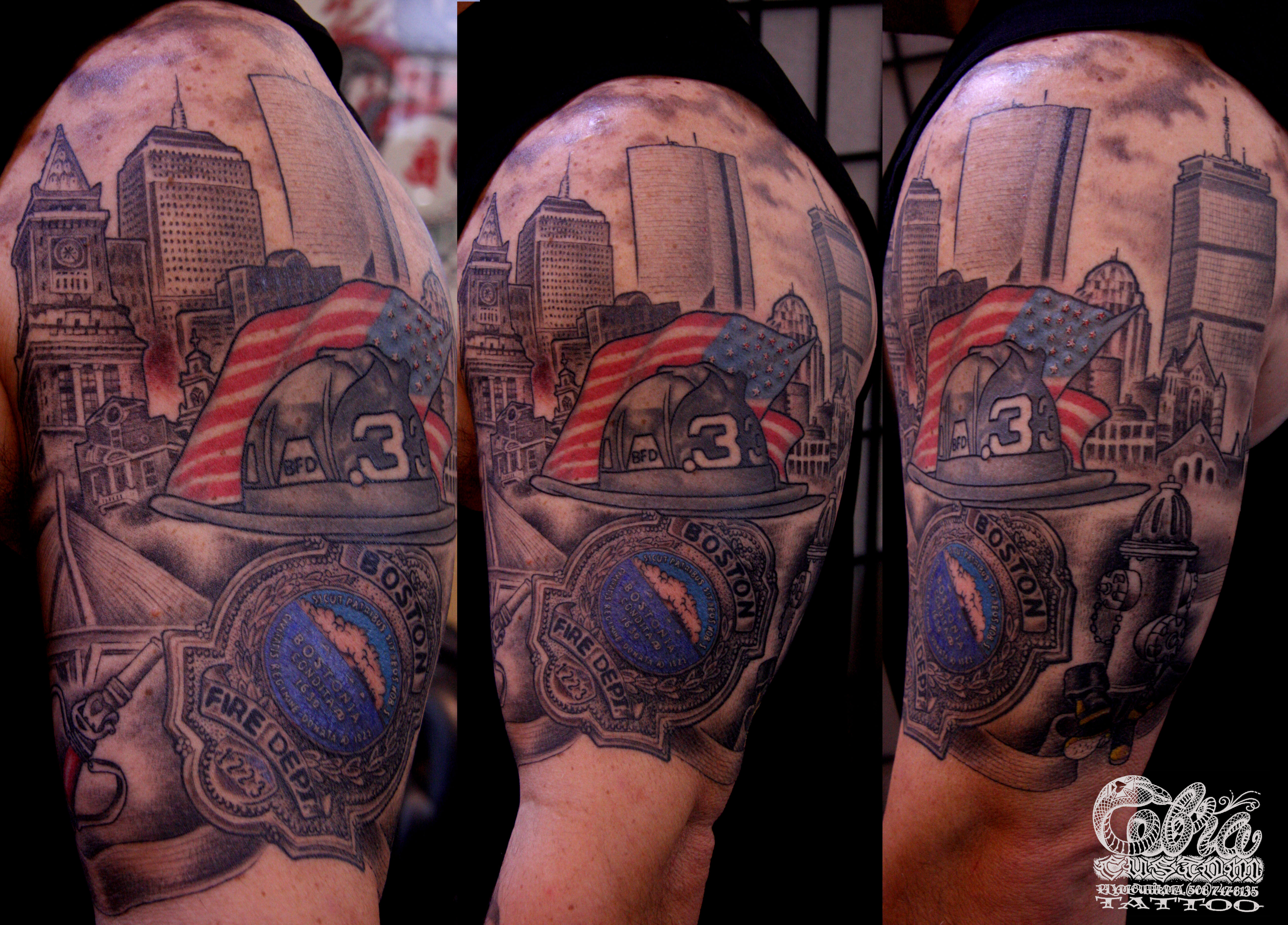 Best Left Shoulder Firefighter Tattoo