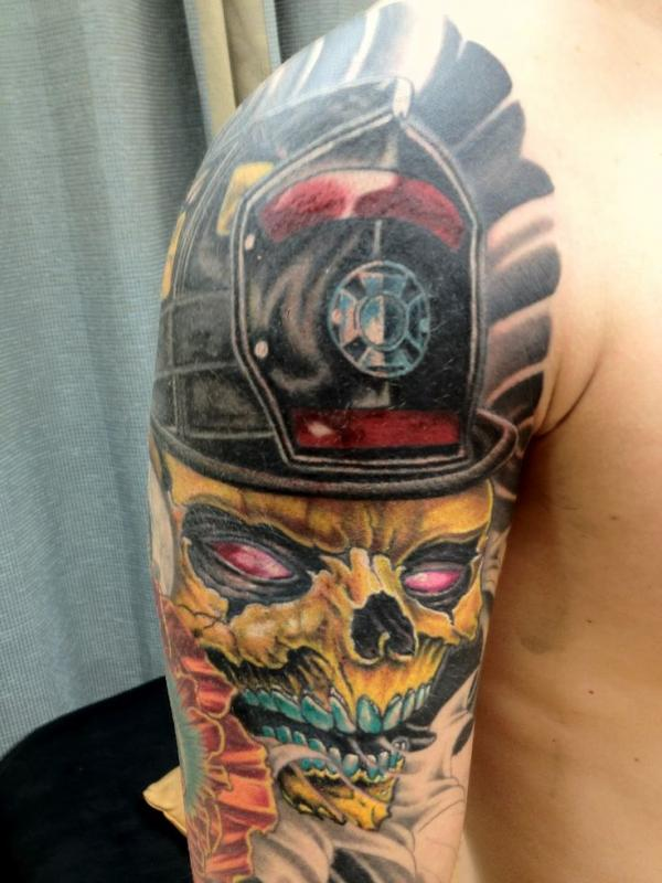 Firefighter tattoos page 67 for Firefighter sleeve tattoo