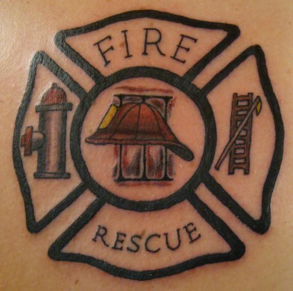 Fire Rescue Firefighter Tattoo