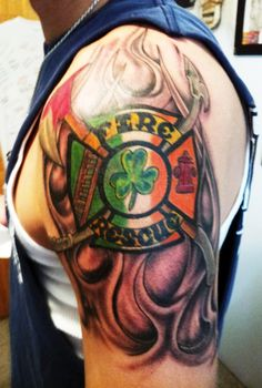 great left half sleeve firefighter tattoo. Black Bedroom Furniture Sets. Home Design Ideas