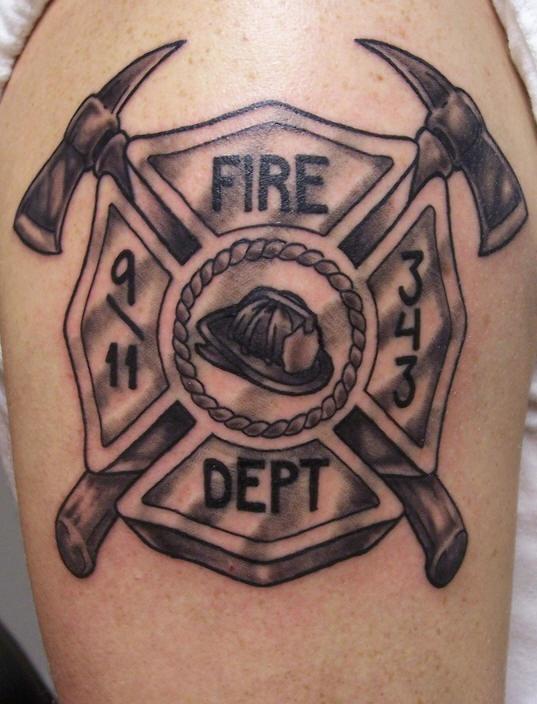 Grey Ink Firefighter Logo Tattoo On Shoulder