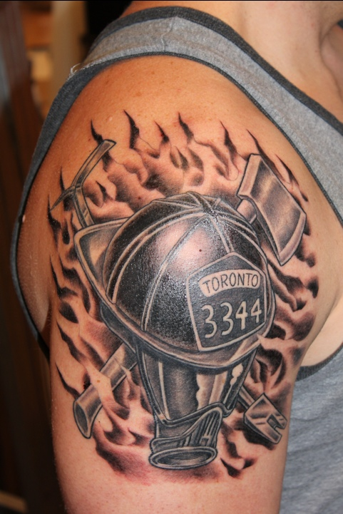 Firefighter tattoo images designs for Black and white flame tattoo
