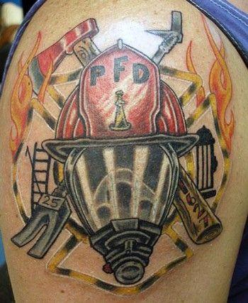 Left SHoulder Firefighter Tattoo