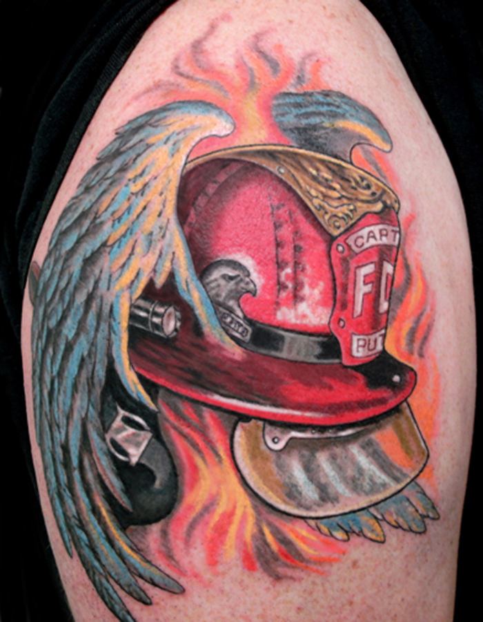 Winged Firefighter Cap Tattoo On Shoulder