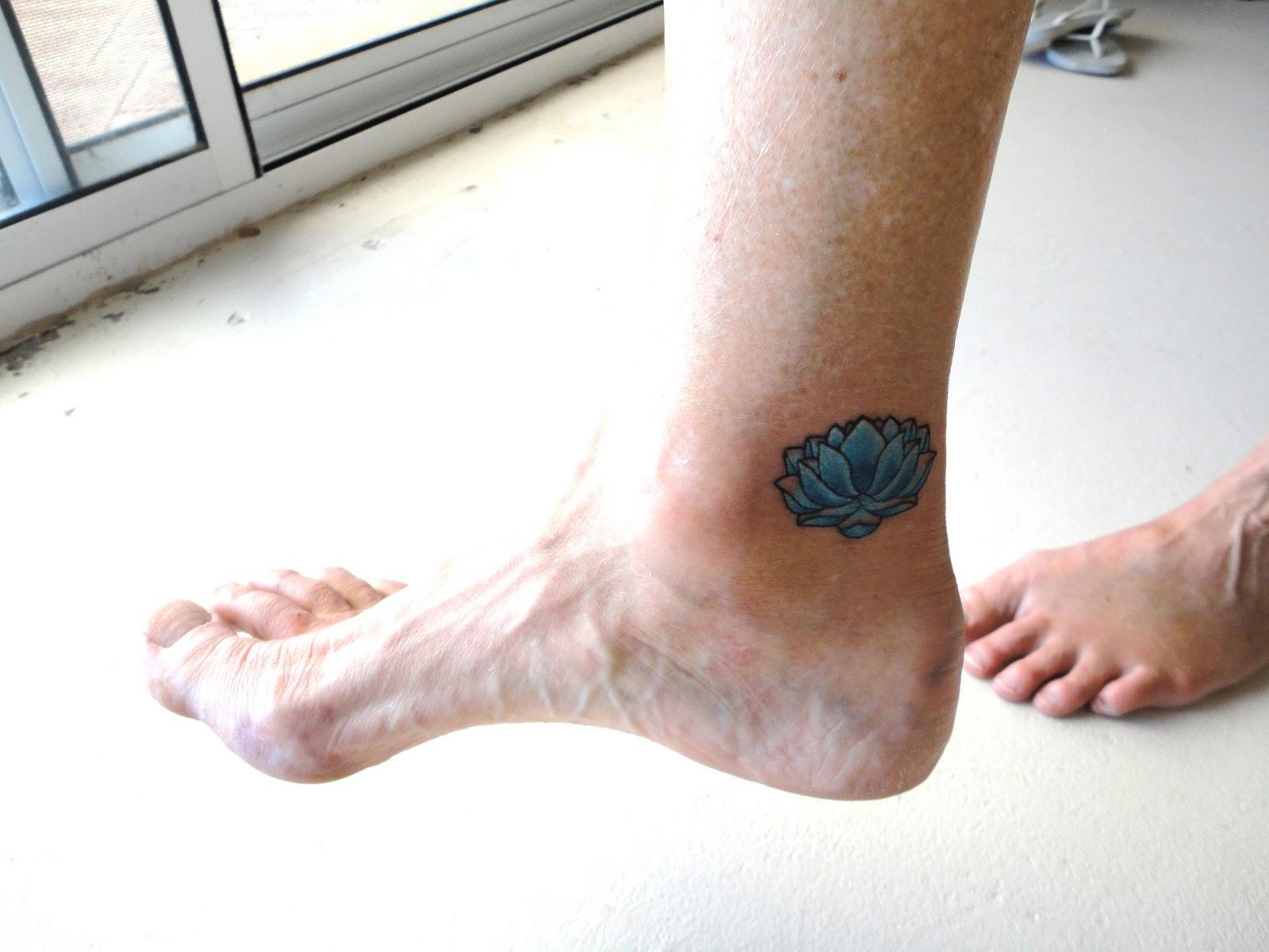 Blue Lotus Flower Tattoo On Ankle