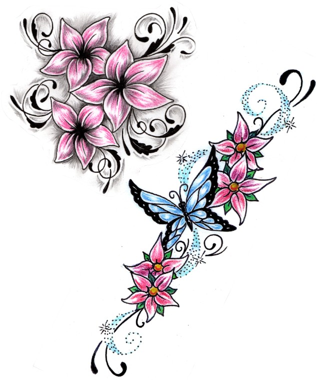 Tattoo Designs Vines And Flowers: Butterfly And Vine Flowers Tattoos Designs