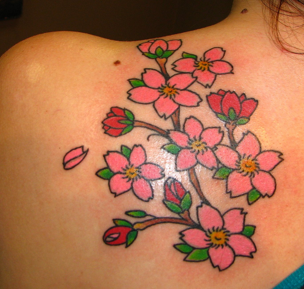 Cherry Blossom Flowers Tattoos On Back