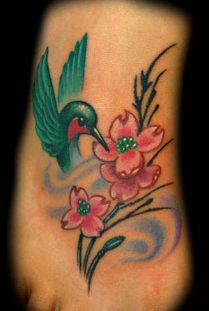 Hummingbird Tattoo On Foot and Flower Tattoo On Foot