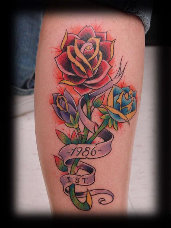 color rose dlowers tattoos on leg. Black Bedroom Furniture Sets. Home Design Ideas