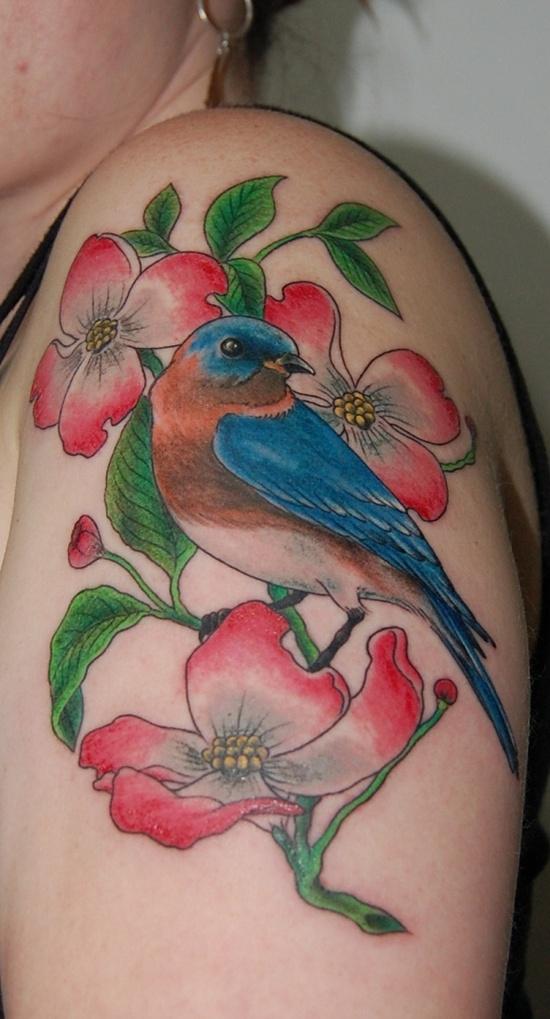 Colored Bird and Flower Tattoos On Left Half Sleeve