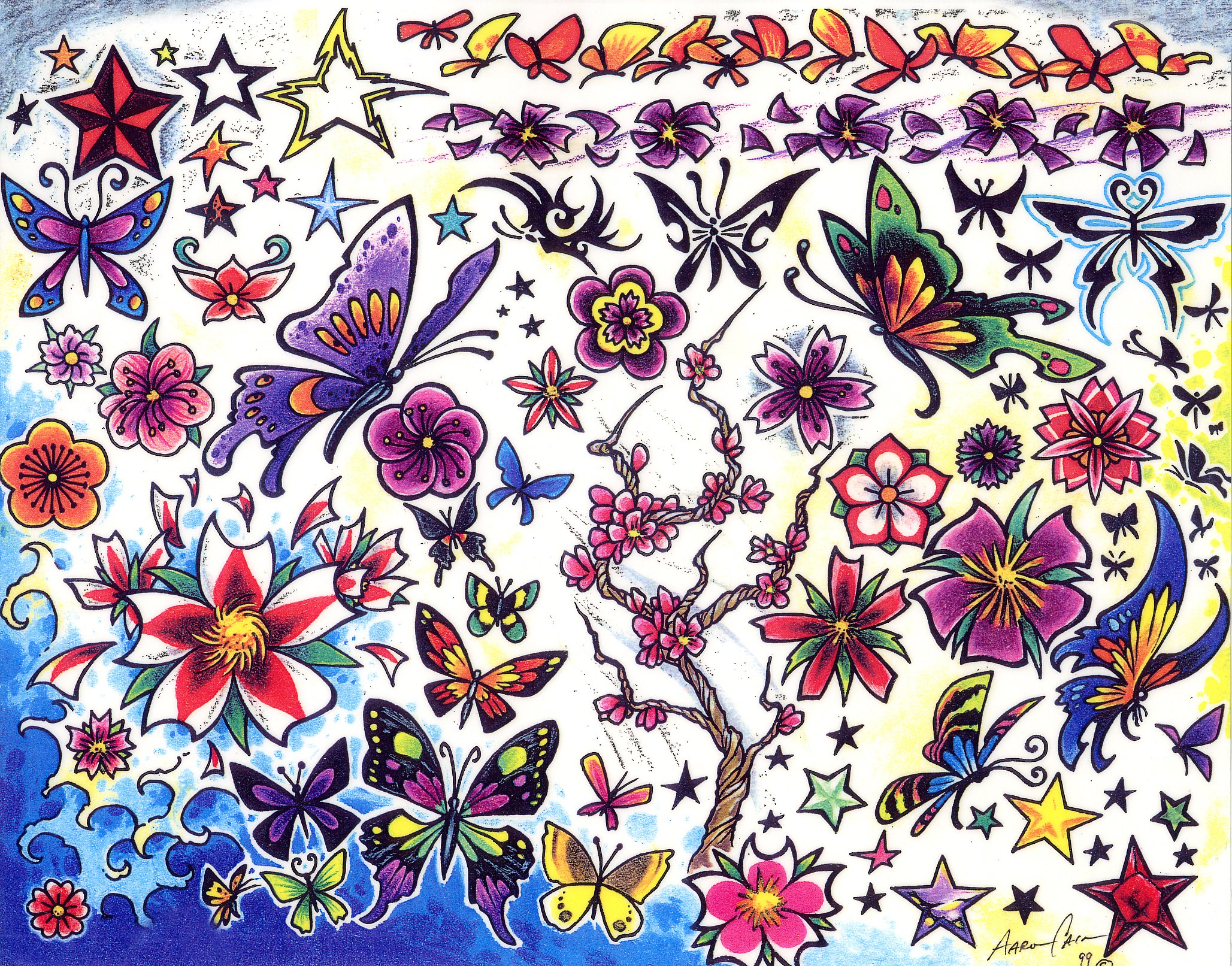 colored butterflies and flowers tattoos design