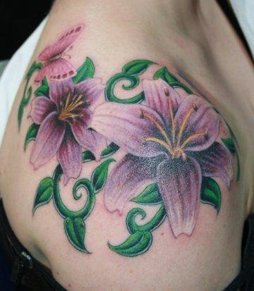 flower tattoo design on shoulder. Black Bedroom Furniture Sets. Home Design Ideas