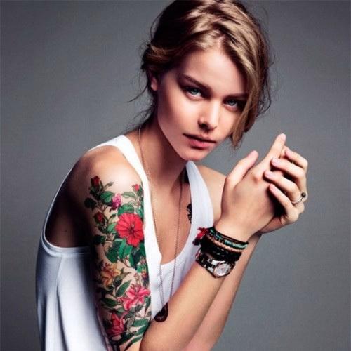 Flower Tattoos on Girl Half Sleeve