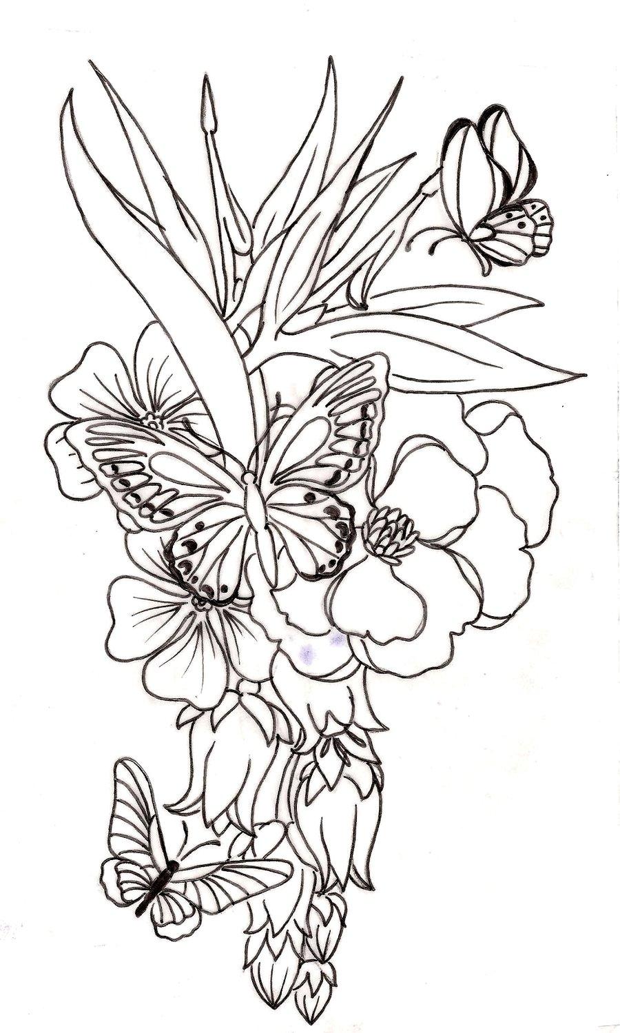 Grey Butterflies And Flower Tattoo