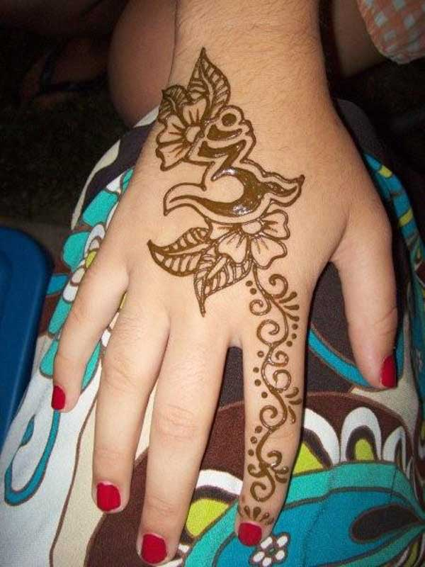 Henna Flower Tattoo On Right Hand