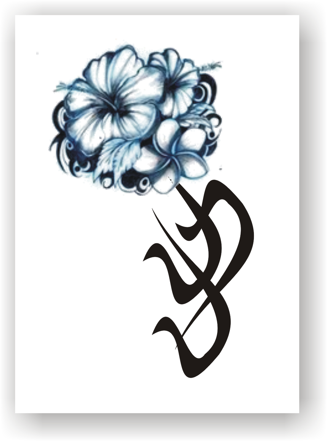 Tribal Hawaiian Flowers Tattoos