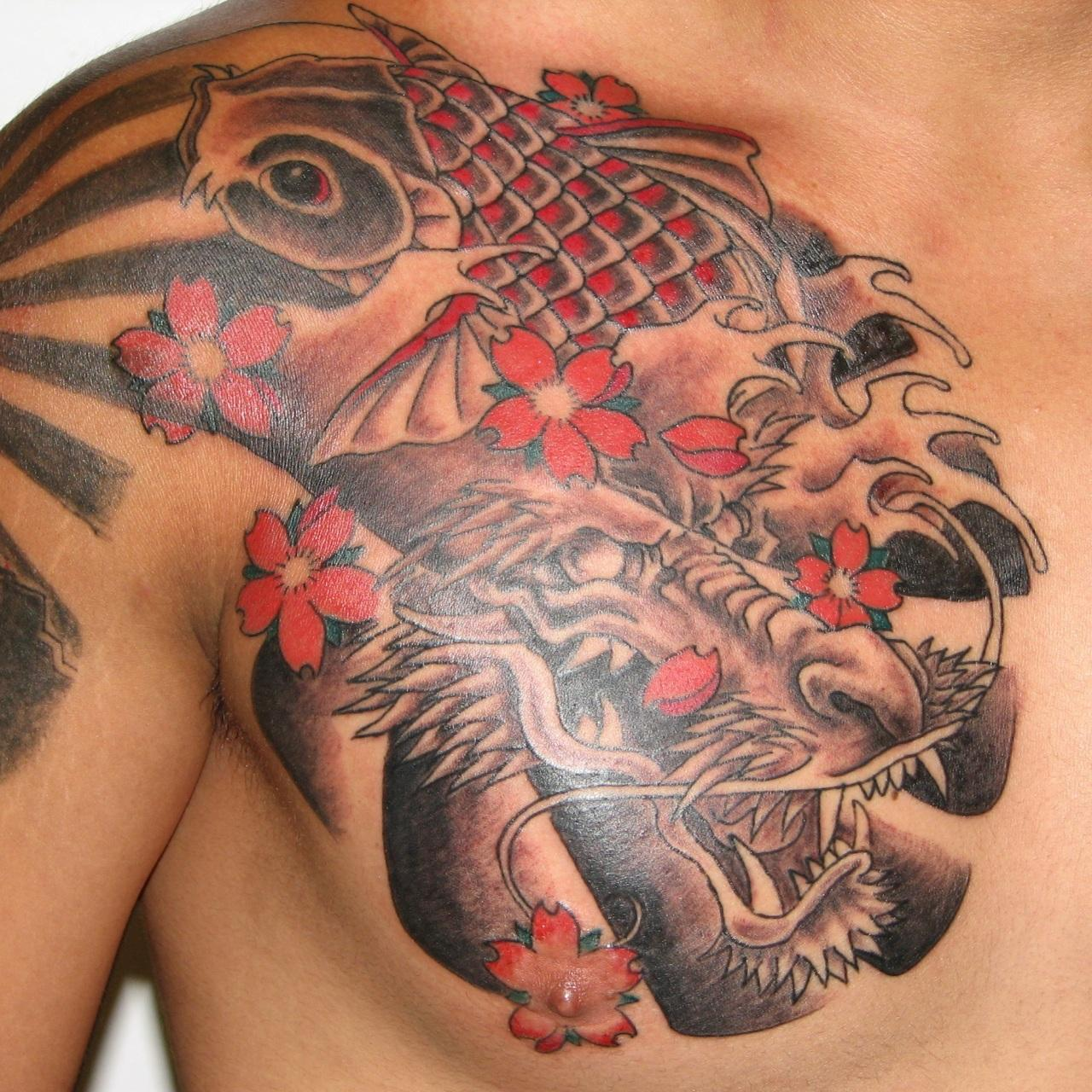 japanese dragon koi and flower tattoos on chest. Black Bedroom Furniture Sets. Home Design Ideas