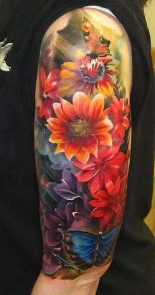 Hibiscus Flower Tattoos On Arm