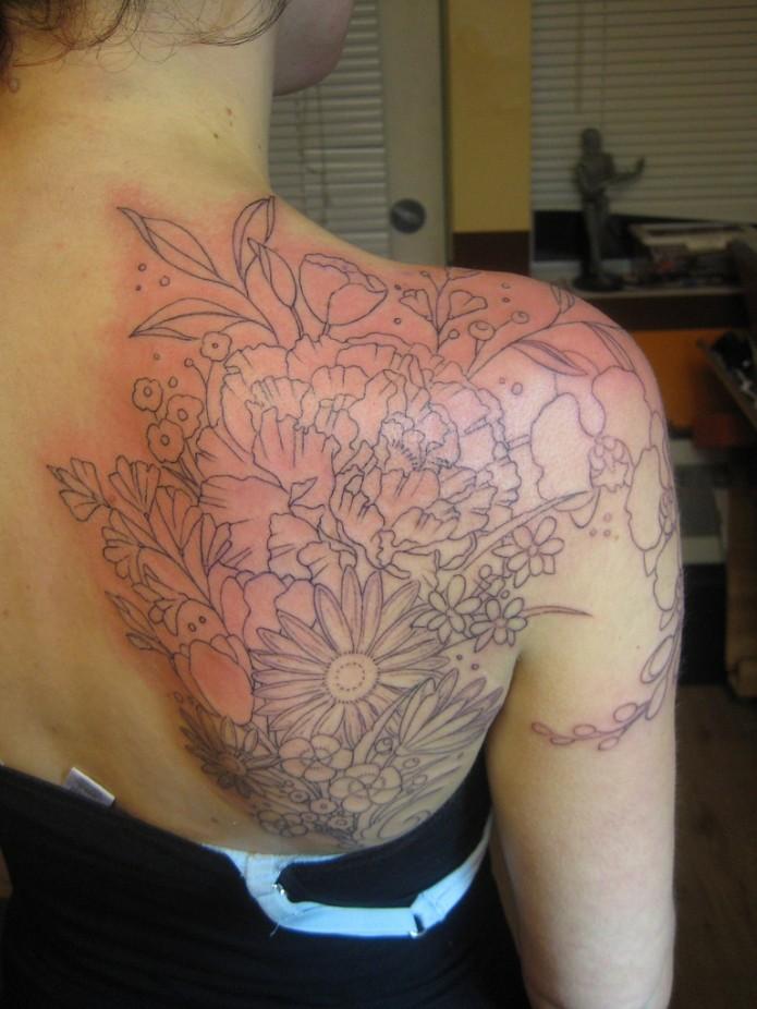 Outline Flower Tattoos On Right Back SHoulder