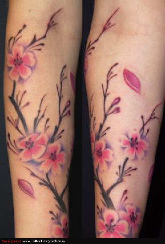 Pink cherry blossom flowers tattoos on sleeve for Blossom flower tattoo meaning