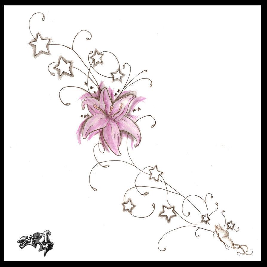 Pink Flower Tattoo Design